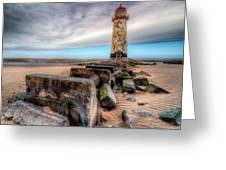 Lighthouse at Talacre  Greeting Card by Adrian Evans