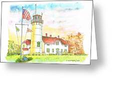 Lighthouse In Cape Code - Massachussetts Greeting Card by Carlos G Groppa