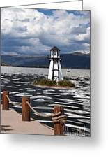 Lighthouse In Lake Dillon Greeting Card by Juli Scalzi