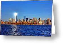 Lighthouse Manhattan Greeting Card by Olivier Le Queinec