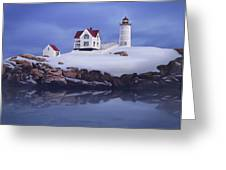 Lighting Of The Nubble Lighthouse Greeting Card by James Charles