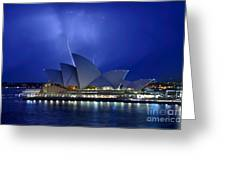 Lightning above The Opera House Greeting Card by Kaye Menner