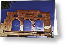 Lightning And The La Victoria Wall In Jerome Arizona Greeting Card by Ron Chilston