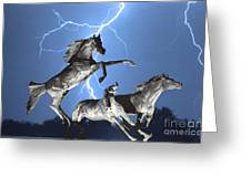 Lightning At Horse World BW Color Print Greeting Card by James BO  Insogna