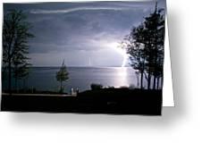 Lightning On Lake Michigan At Night Greeting Card by Mary Lee Dereske