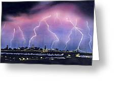Lightning On The Bay Bridge Greeting Card by Janaka Ruiz