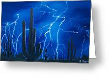 Lightning  over the Sonoran Greeting Card by Sharon Duguay