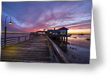 Lights On The Dock Greeting Card by Debra and Dave Vanderlaan