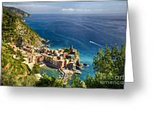 Ligurian Coast View At Vernazza Greeting Card by George Oze