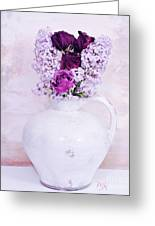 Lilacs And Roses Greeting Card by Marsha Heiken