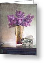 Lilacs In Vase 2 Greeting Card by Rebecca Cozart