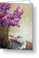 Lilacs In Vase 3 Greeting Card by Rebecca Cozart