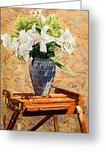 Lilies On An Easel Greeting Card by Mary Helmreich