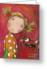 Lilli With Her Monster Greeting Card by Sonja Mengkowski
