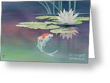 Lily And Koi Greeting Card by Robert Hooper