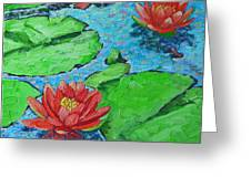 Lily Pond Impression Greeting Card by Ana Maria Edulescu