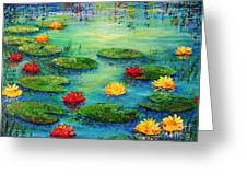 Lily Pond Greeting Card by Teresa Wegrzyn