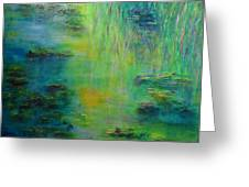 Lily Pond Tribute To Monet Greeting Card by Claire Bull