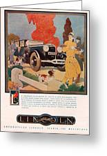 Lincoln 1929 1920s Usa Cc Cars Hunting Greeting Card by The Advertising Archives