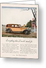 Lincoln 1932 1930s Usa Cc Cars Greeting Card by The Advertising Archives