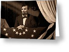 Lincoln At Fords Theater Greeting Card by Ray Downing