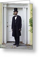 Lincoln Leaving A Building 2 Greeting Card by Ray Downing