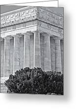 Lincoln Memorial Pillars Bw Greeting Card by Susan Candelario