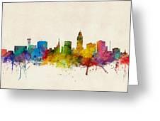 Lincoln Nebraska Skyline Greeting Card by Michael Tompsett
