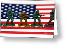 Line of Toy Soldiers on American Flag Shallow Depth of Field Greeting Card by Amy Cicconi
