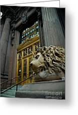 Lion At Dollar Bank Building Pittsburgh Greeting Card by Amy Cicconi