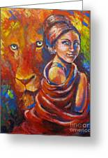 Lion Covering Greeting Card by Tamer and Cindy Elsharouni