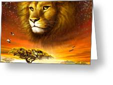 Lion Dawn Greeting Card by Adrian Chesterman