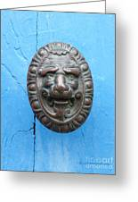 Lion Face Door Knob Greeting Card by Lainie Wrightson