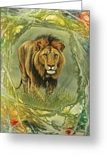 Lion In Abstract Greeting Card by Paul Krapf
