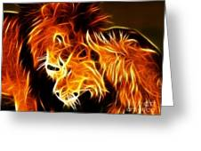 Lions In Love Greeting Card by Pamela Johnson