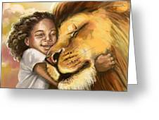 Lion's Kiss Greeting Card by Tamer and Cindy Elsharouni