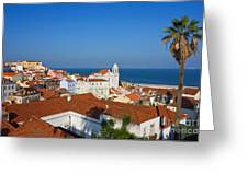 Lisbon Alfama Panoramic View Toward The River Greeting Card by Kiril Stanchev