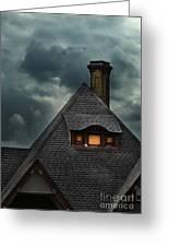 Lit Attic Window Greeting Card by Jill Battaglia