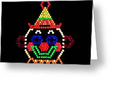 Lite Brite - The Classic Clown Greeting Card by Benjamin Yeager