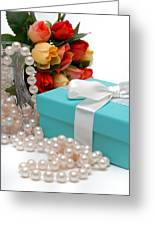 Little Blue Gift Box With Pearls And Flowers Greeting Card by Amy Cicconi