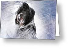 Little Doggie In A Snowstorm Greeting Card by Gun Legler