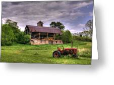 Little Red Tractor Greeting Card by David Simons