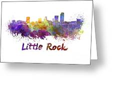 Little Rock Skyline In Watercolor Greeting Card by Pablo Romero