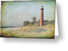 Little Sable Lighthouse Greeting Card by Leo Cumings