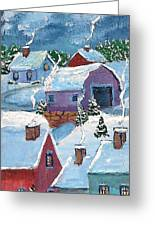 Little Town At Night Greeting Card by MarLa Hoover