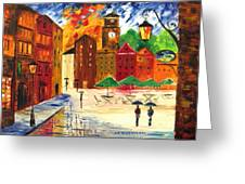 Little Town Greeting Card by Mariana Stauffer