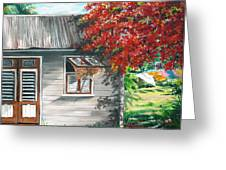Little West Indian House 1 Greeting Card by Karin  Dawn Kelshall- Best