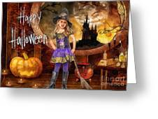 Little Witch Greeting Card by Mo T