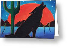 Lonely Night Wolf Greeting Card by MarLa Hoover