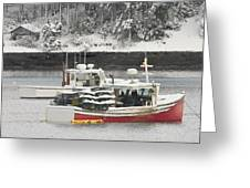 Lobster Boats After Snowstorm In Tenants Harbor Maine Greeting Card by Keith Webber Jr